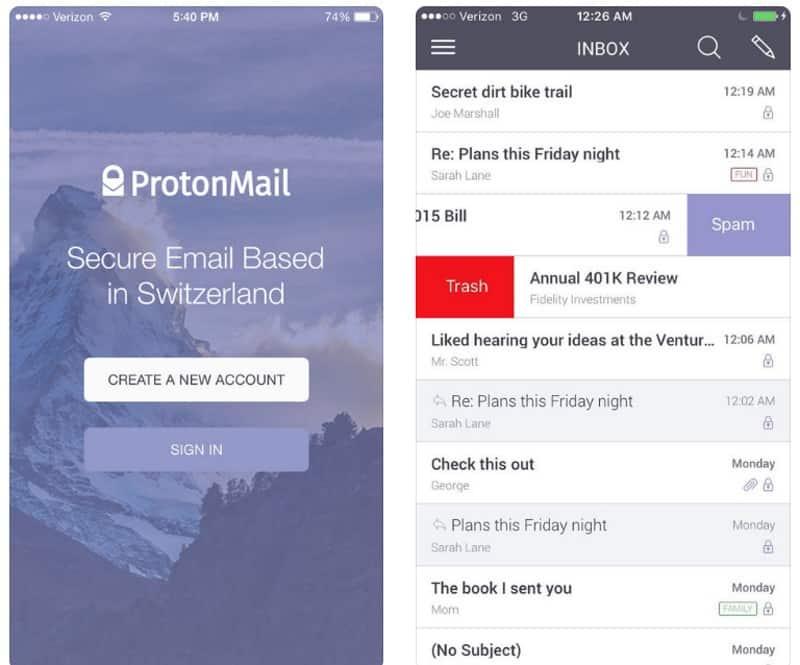 ProtonMail - приложение обмена зашифрованной почтой