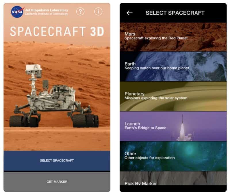 Spacecraft 3D — модели космических аппаратов в дополненной реальности