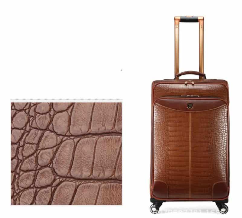 Мужской чемодан из искусственной кожи крокодила