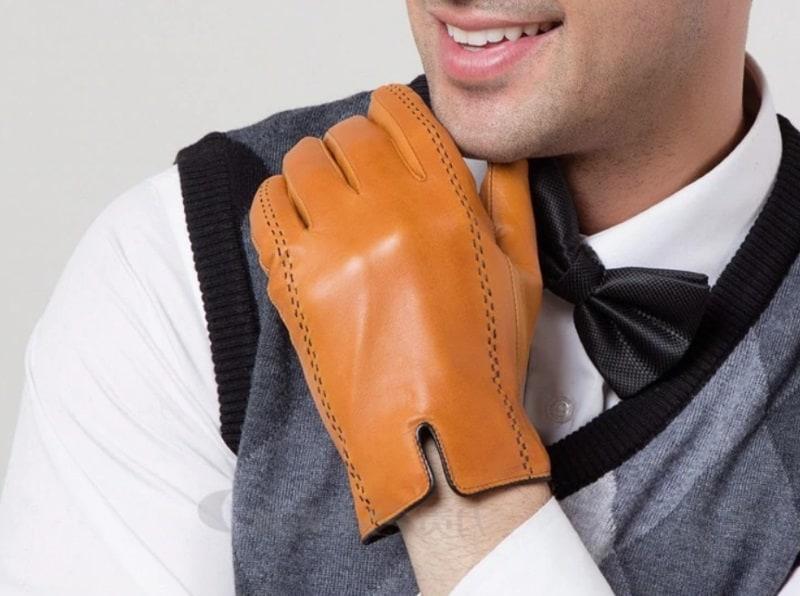 Мужские перчатки из натуральной кожи Gours