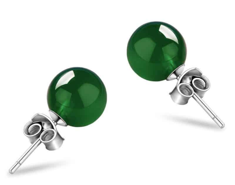 Серьги-шарики из зелёного агата