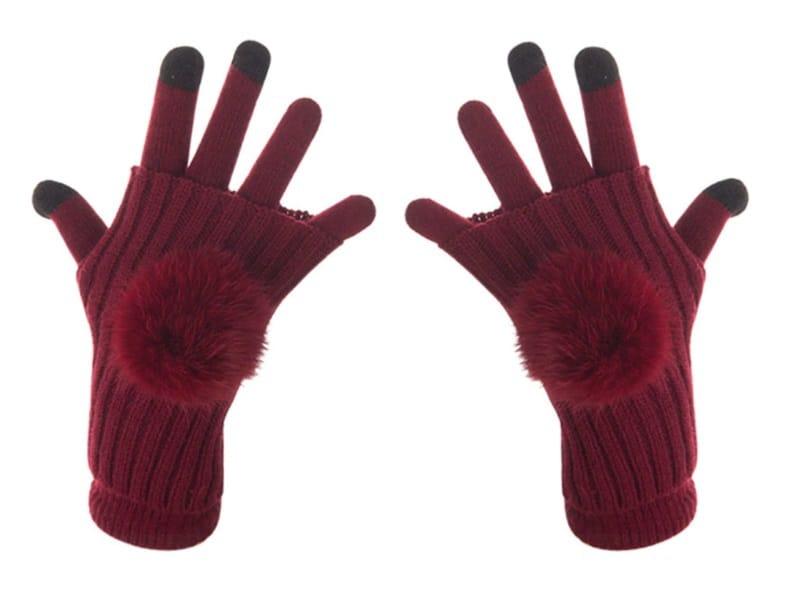 Женские перчатки с помпонамиEvrfelan