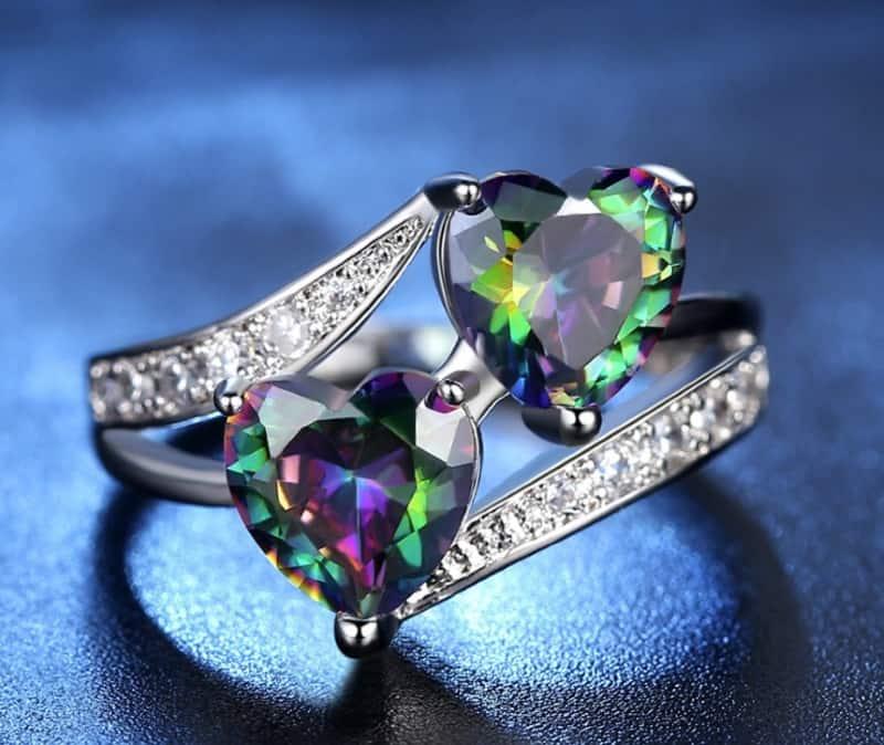 Кольцо с 2 сердечками