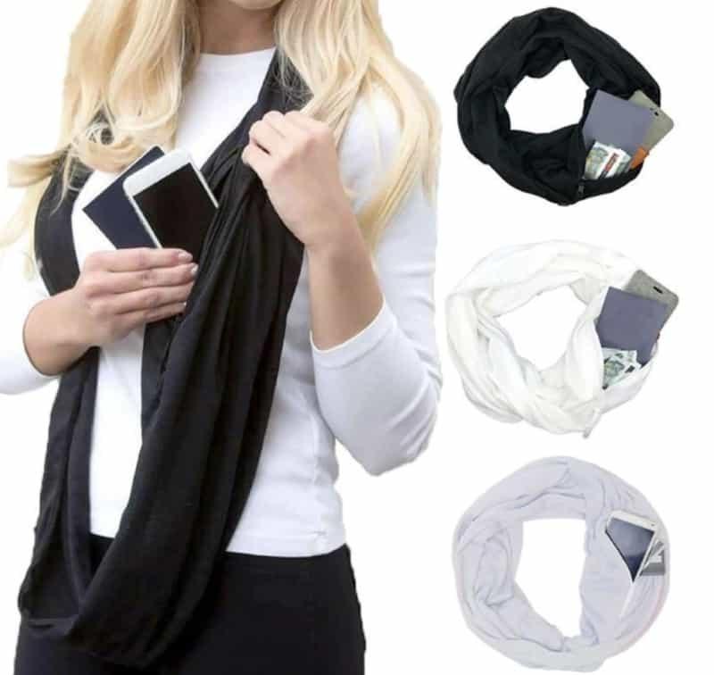 Женский шарфик с потайным карманом