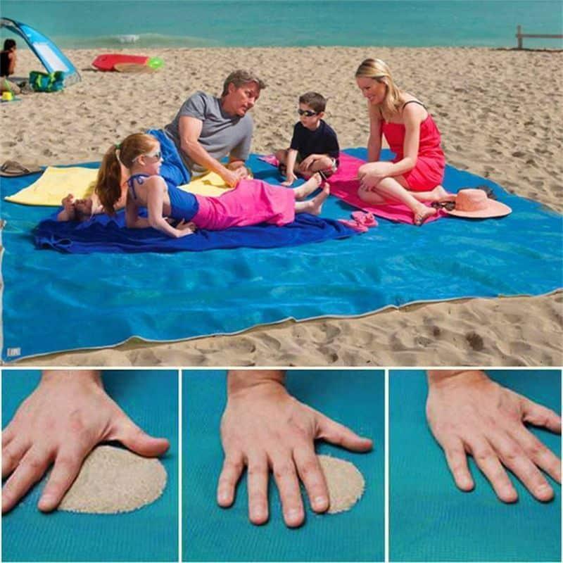 Большой пляжный коврик с защитой от песка