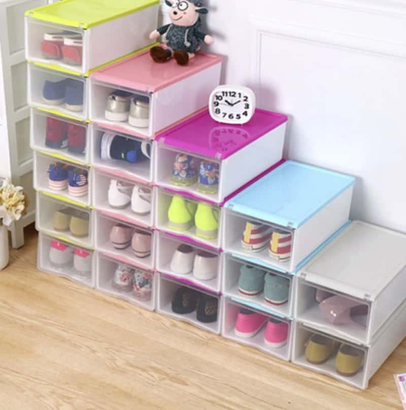 Пластиковые ящики для хранения обуви