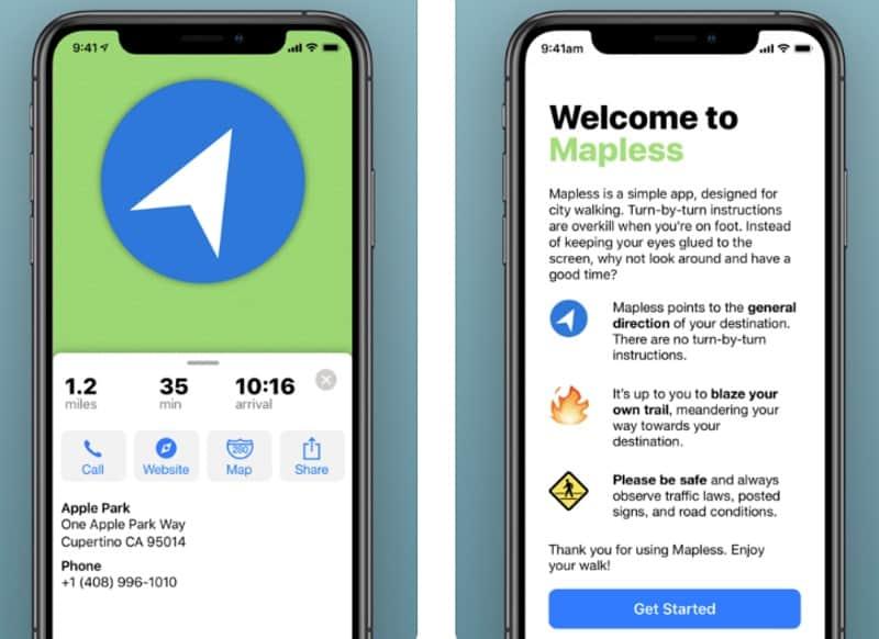 Mapless Walking Directions - приложение для навигации без карт