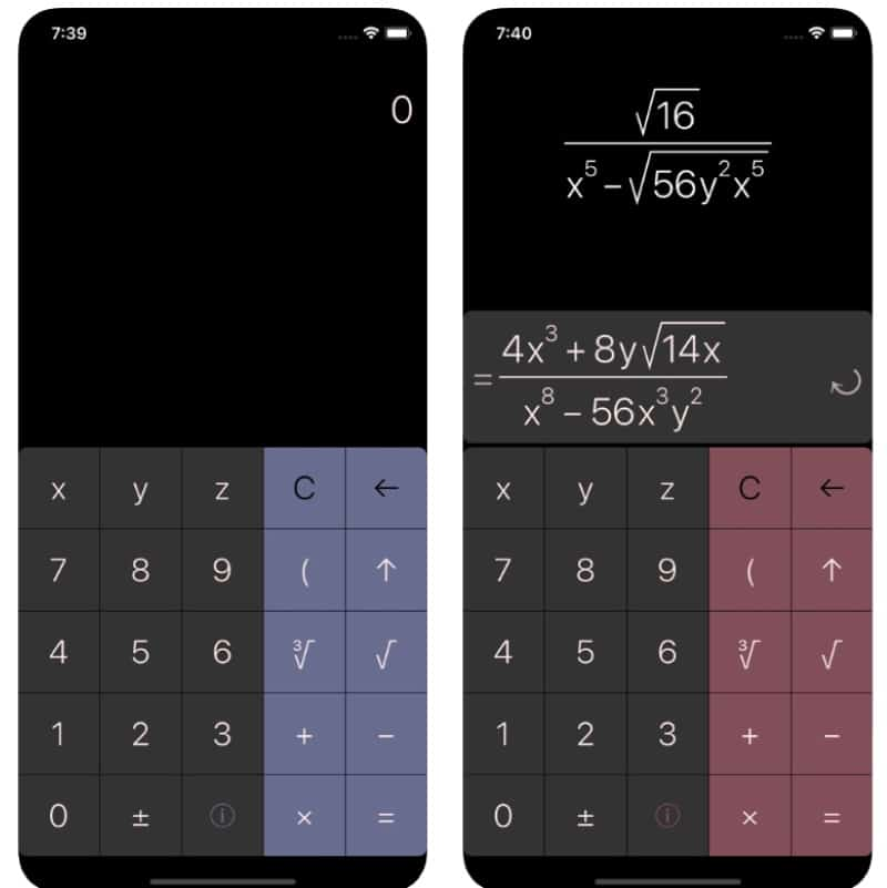 RadiCalc - алгебраический калькулятор для iOS