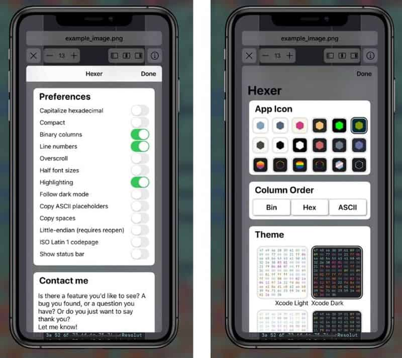 Hexer - приложение для просмотра кода файлов