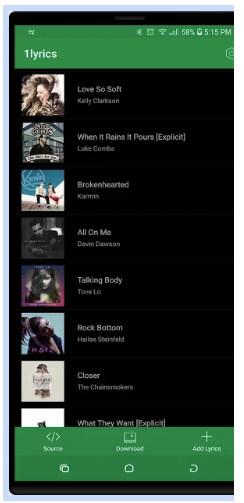 1lyrics - приложение для поиска текста песен