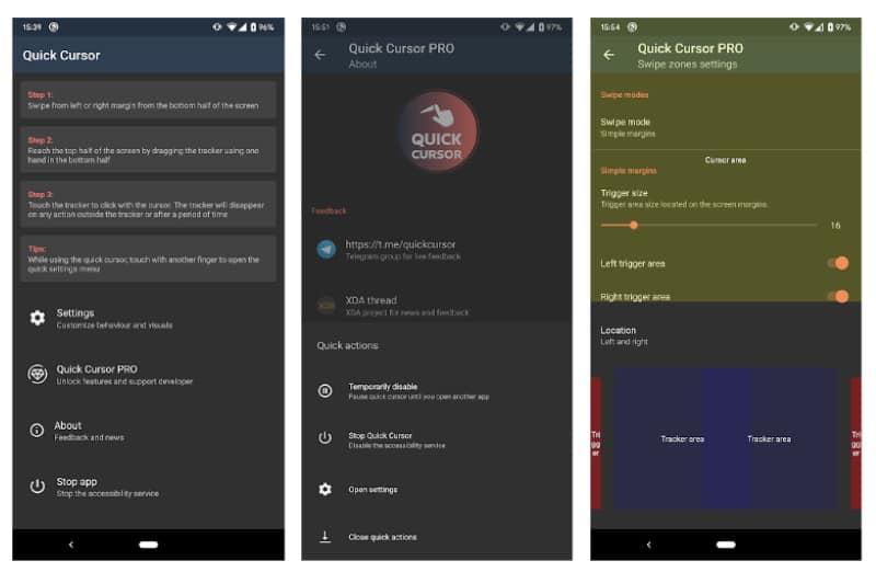 Quick Cursor - приложение для управления смартфоном одной рукой