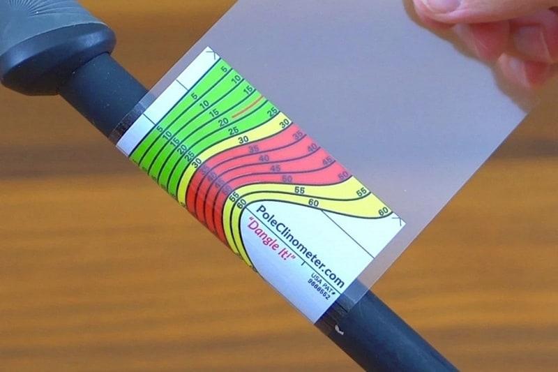 Наклейка для измерения угла наклона горнолыжного склона PoleClinometer