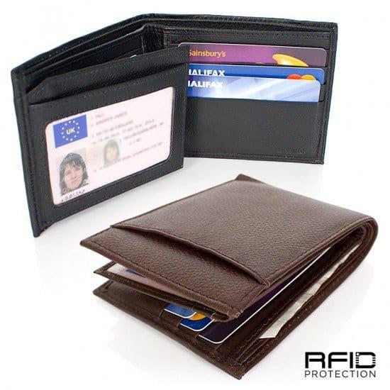 Кожаный бумажник с защитой банковских карт
