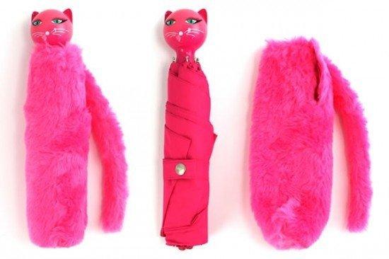 Розовый зонт-кошка