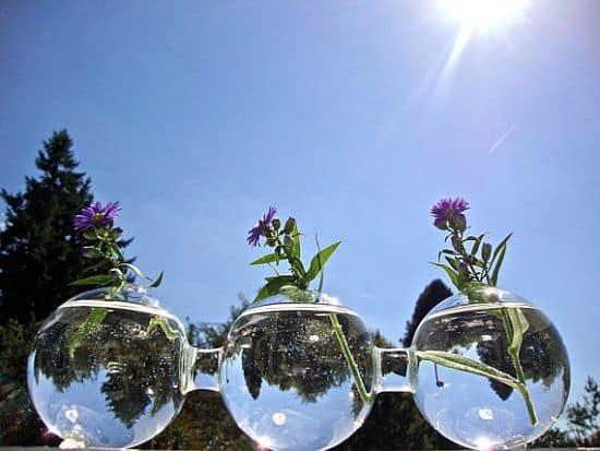 Triple Glass Globe Vase
