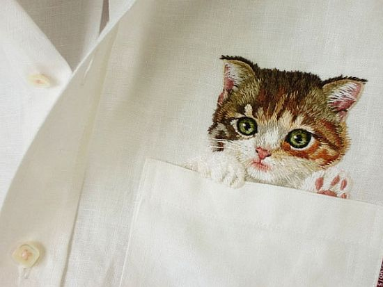 Вышивка котик в кармашке 9