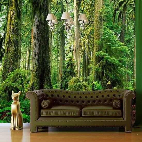фотообои лес в интерьере: