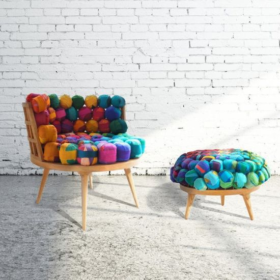 Recycled Silk Chair & Ottoman